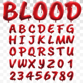 Translucent bloody alphabet isolated on transparent background