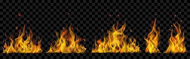 Полупрозрачные горящие костры на прозрачном фоне