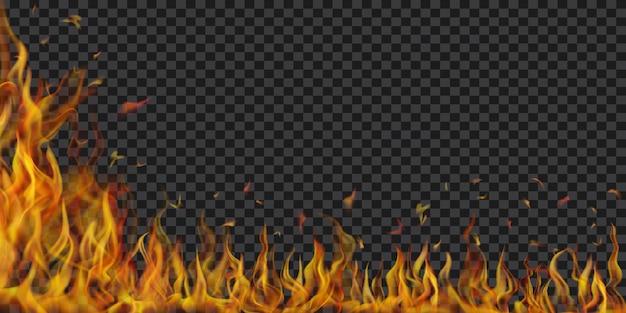 透明な背景に半透明の火の炎と火花。暗いイラストに使用します。ベクトル形式のみの透明度
