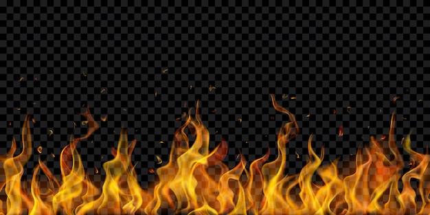 透明な背景に水平方向に繰り返される半透明の火の炎と火花。暗いイラストに使用します。ベクトル形式のみの透明度