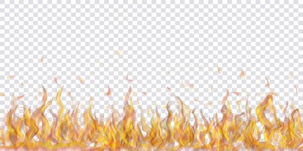 透明な背景に水平方向に繰り返される半透明の火の炎と火花。軽いイラストに使用します。ベクトル形式のみの透明度