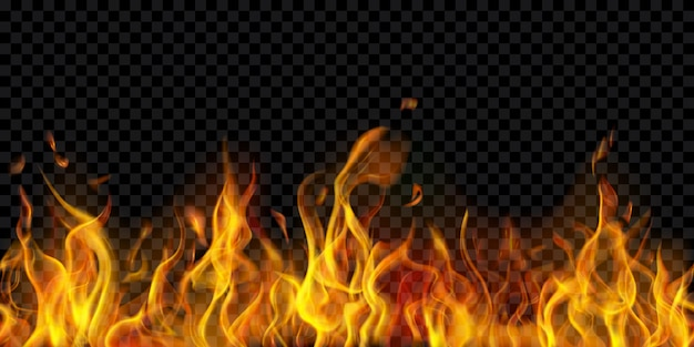 Translucent fire flames and sparks with horizontal repetition on transparent background