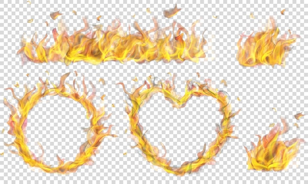 Translucent heart, ring, campfire and long banner of fire flame on transparent background