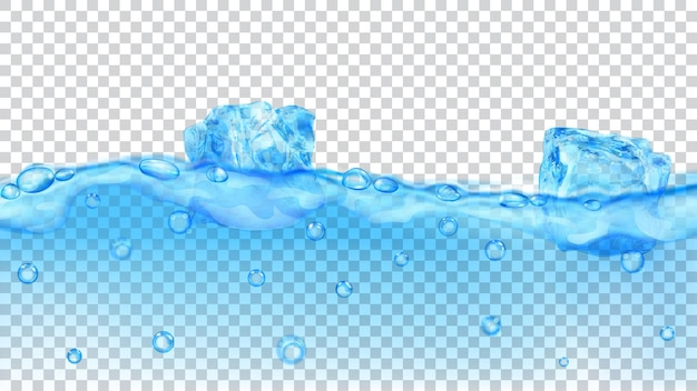 半透明の水色の角氷と透明な背景の水に浮かぶ多くの気泡。ベクトル形式のみの透明度