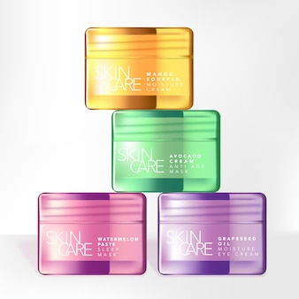 Translucent pink, green, purple and yellow glass or plastic beauty or skincare screw lid jar packaging