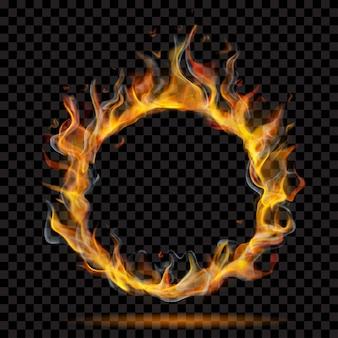 Полупрозрачное кольцо пламени огня с дымом на прозрачном фоне. для использования на темном фоне. прозрачность только в векторном формате
