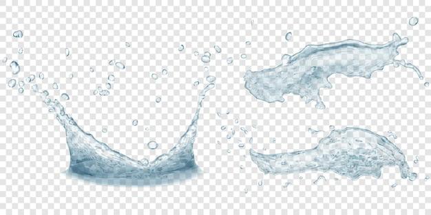 半透明のウォータークラウンと水しぶき