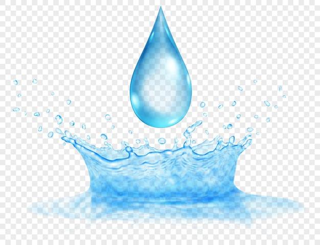 Полупрозрачная водяная корона из двух слоев - верхнего и нижнего и большая капля. всплеск в голубых тонах с каплями, изолированные на прозрачном фоне. прозрачность только в векторном файле