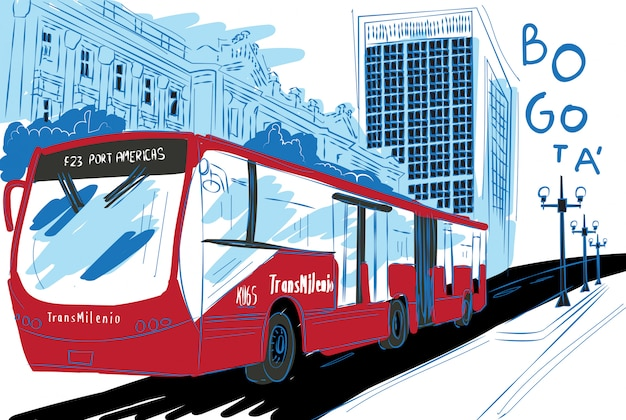 Transmilenio illustration in bogotá city