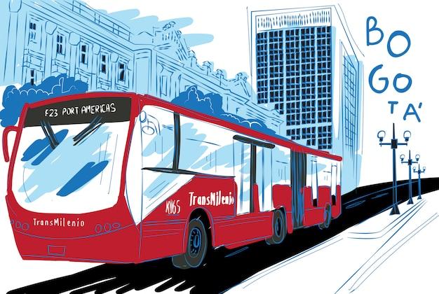 ボゴタ市のtransmilenioイラストレーション