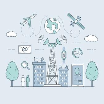 Transmission cellular tower or mobile communications tower on city landscape.