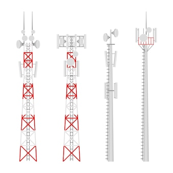 전송 셀룰러 타워를 설정합니다. 위성 통신 안테나가있는 이동 통신 타워. 무선 연결을위한 라디오 타워.