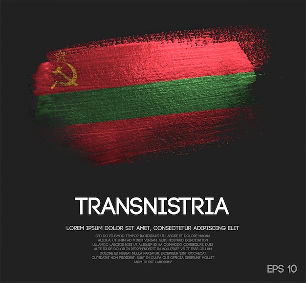 Transnistria flag made of glitter sparkle brush paint