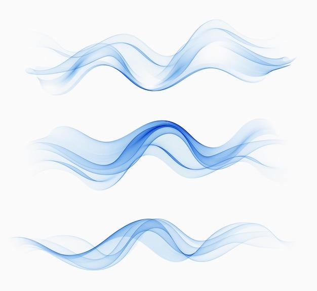 Прозрачные абстрактные волны воды. векторный набор с абстрактными волнами. голубая волна потока
