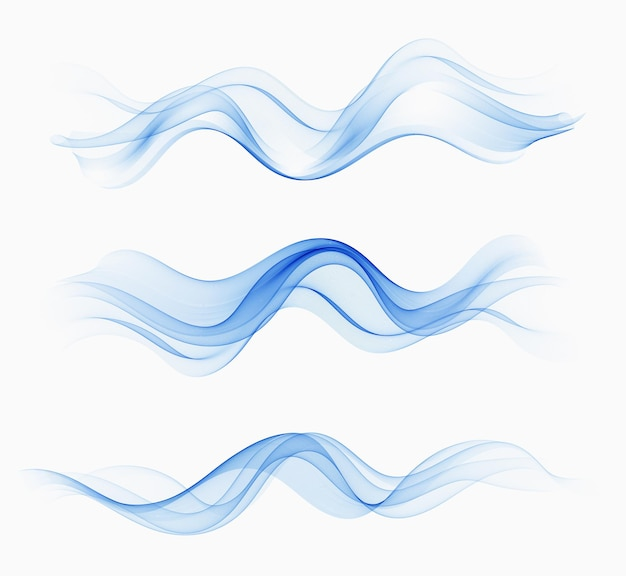 Transparent abstract waves of water.vector set with abstract waves. blue wave flow