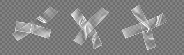 Крест из прозрачной клейкой ленты, изолированный на прозрачном
