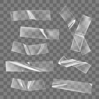투명 접착 플라스틱 테이프 조각 및 십자가