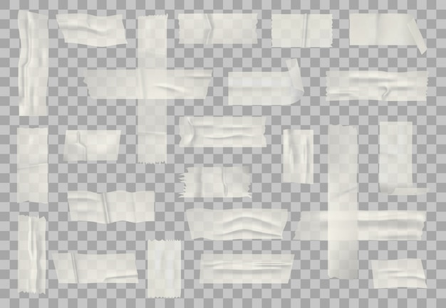 투명 접착 테이프. 스티커 투명 테이프, 접착제 종이 테이프와 스티커 줄무늬 세트. 현실적인 주름 스티커 리본
