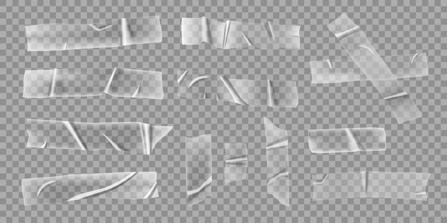 Transparent adhesive tapes realistic wrinkled crumpled clear plastic sticky stripes scotch pieces