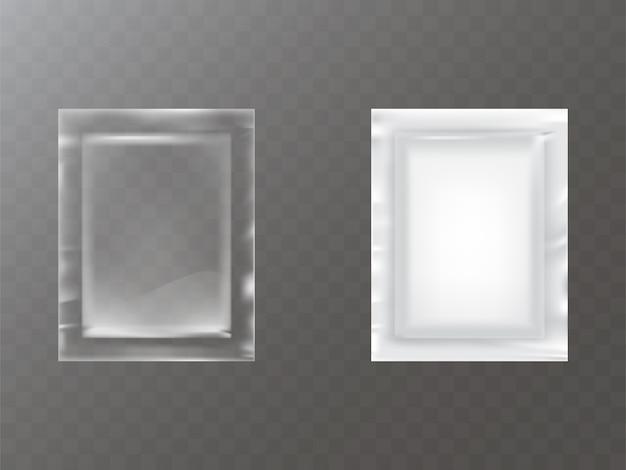 透明な白いプラスチックまたは箔の袋