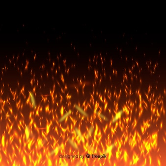 Transparent background with bright fire sparks