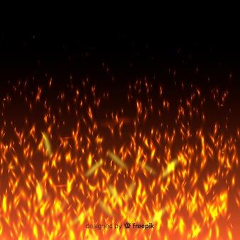 明るい火の火花と透明な背景