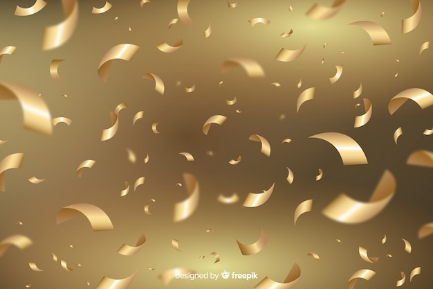 Transparent background with golden confetti