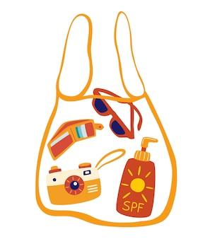 Прозрачная сумка с пляжными аксессуарами. солнцезащитный крем, очки, фотоаппарат, кошелек. летние флюиды. симпатичные аксессуары для летнего отдыха. векторные иллюстрации в мультяшном стиле.