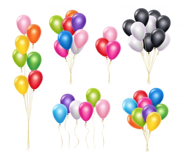 Transparent balloons. realistic mockup 3d flying helium party decoration balloons collection