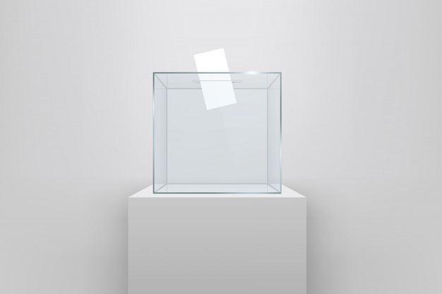Transparent ballot box with voting paper in hole