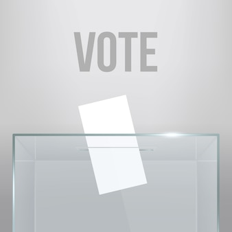 Transparent ballot box with voting paper in hole.