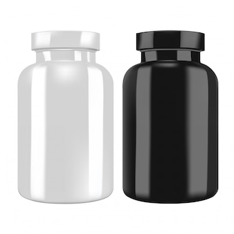 Transparent black and white supplement bottle vector