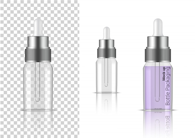 Transparent bottle. 3d realistic dropper cosmetic, oil serum, perfume for skincare product health care packaging and science with metallic cap