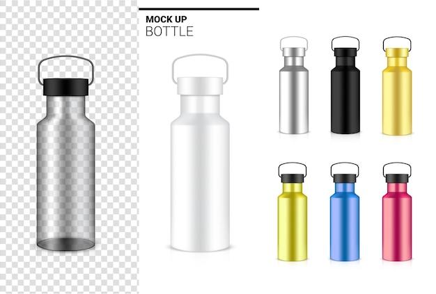 물과 음료에 대한 투명한 병 3d 현실적인 플라스틱 셰이커. 자전거 및 스포츠 컨셉 디자인.