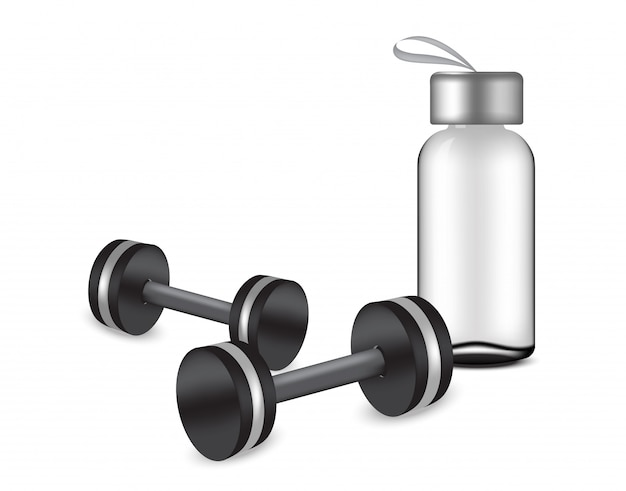 Transparent bottle mock up and realistic dumbbells