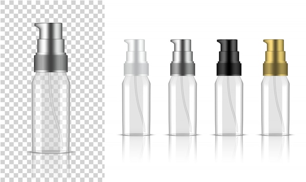 Transparent bottle  realistic pump cosmetic