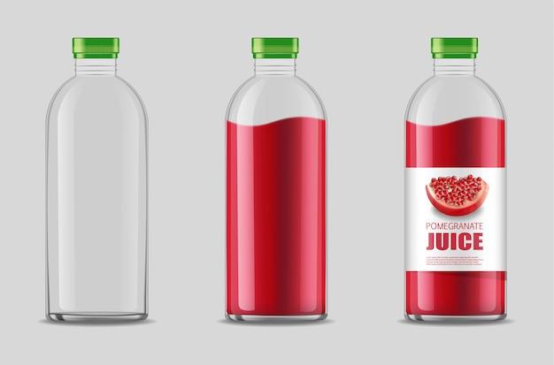 透明なボトルの現実的なセット、ザクロパッケージ