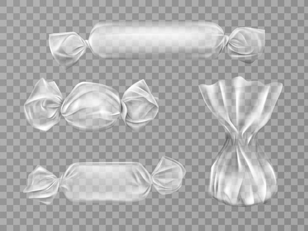 Transparent candy wrapper isolated