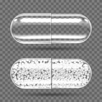 Transparent capsules empty and with granules.