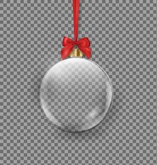 Прозрачный елочный шар висит на красной ленте на темном фоне. векторный шаблон