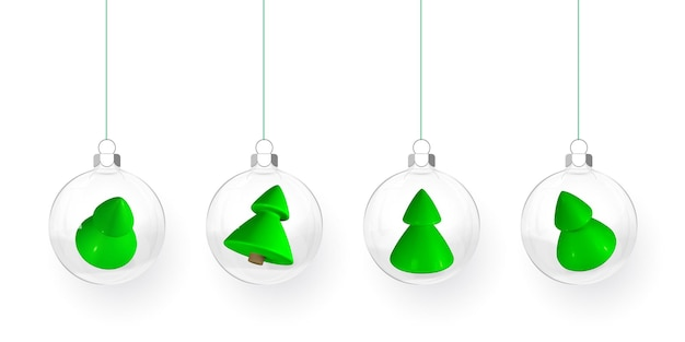 Transparent christmas balls with gift boxes and xmas trees inside. xmas glass ball. holiday decoration template. vector illustration.