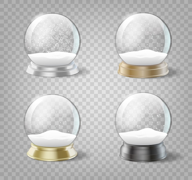 Transparent christmas snow balls set. glass spheres with snow and snowflakes template isolated. realistic set of xmas and new year decorations.