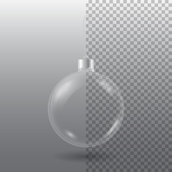Transparent christmas tree ball with eyelet isolated on checkered grey
