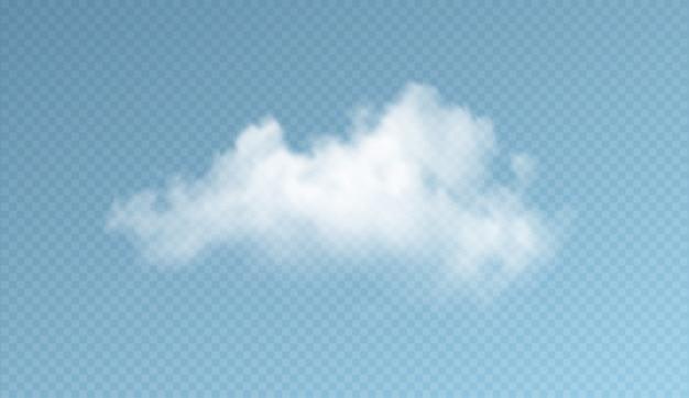 투명 한 구름 파란색 배경에 고립입니다. 실제 투명도 효과. 프리미엄 벡터