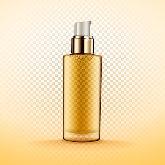 Transparent cosmetic bottle containg golden fluid, isolated