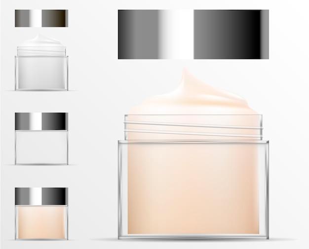 Transparent cosmetic plastic bottle. realistic jar