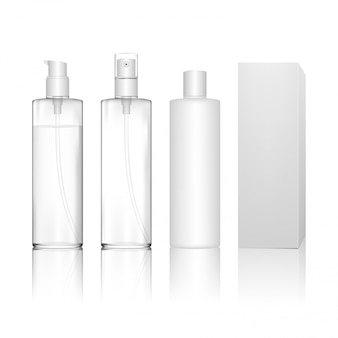 스프레이, 디스펜서 펌프와 투명 화장품 플라스틱 병. 젤, 로션, 샴푸, 목욕 거품, 스킨 케어를위한 액체 용기.