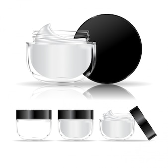 透明なクリームコンテナーが分離されました。クリーム、ジェル用の化粧品ガラス瓶。美容製品パッケージ。