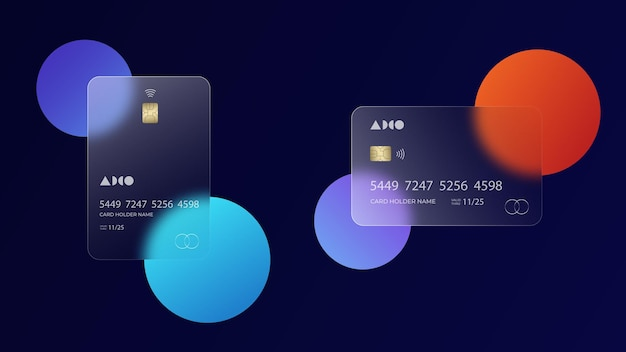 Transparent credit card mockup with security chip, glass morphism plastic card