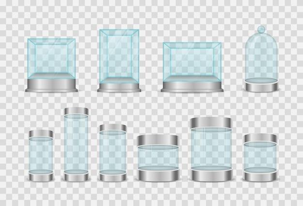 투명한 크리스탈 큐브 및 실린더 빈 쇼케이스